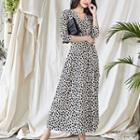 Elbow-sleeve Leopard Print Maxi Wrap Dress