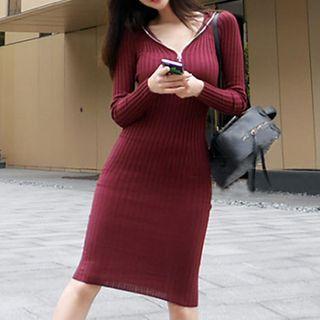 Rib-knit Half-zip Bodycon Hoodie Dress Wine Red - One Size