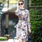 Mock Collar Lace Cuff Printed Sheath Dress