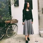 Ribbed Midi A-line Skirt