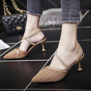 Striped Pointed Kitten-heel Sandals