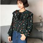 Printed Chiffon Long-sleeve Blouse