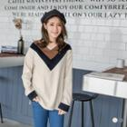 Peachskin Colorblock Chevron Sweater