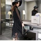 Set: Lace Dress + Knit Vest