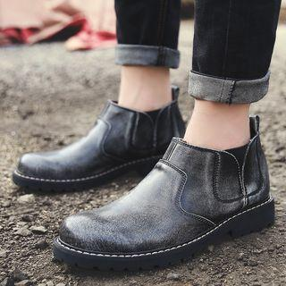 Genuine-leather Stitched Panel Shoe Boots