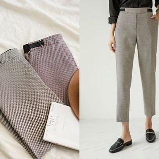 Band-waist Houndstooth Dress Pants