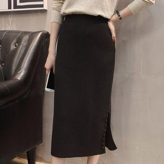 Midi Knit Slit Skirt