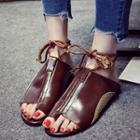 Faux Leather Loop-toe Slide Sandals