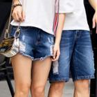Couple Matching Distressed Denim Shorts