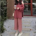 Cutout Shoulder Sweater / Cropped Wide-leg Knit Pants