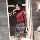 Set: Long-sleeve Lace Dress + Knit Vest