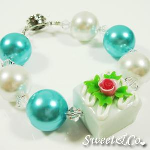 Sweet Color Rose Blue Chocolate Pearl Crystal Bracelet