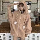 Fleece Hooded Zip Jacket Khaki - One Size