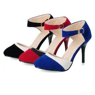 High Heel Color Block Ankle Strap Pumps