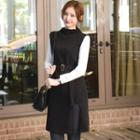 Mock-neck Sleeveless Knit Dress With Belt