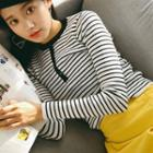 Striped Placket Knit Top