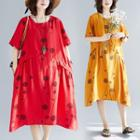 Short-sleeve Loose Fit Printed Midi Dress