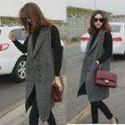 Plaid Sleeveless Knit Coat