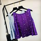 Sleeveless Embellished Top Purple - One Size