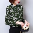Long-sleeved Floral Print Chiffon V-neck Slim Shirt