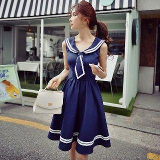 Sleeveless Sailor-collar Dress
