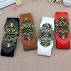 Faux Leather Floral Buckle Elastic Corset Belt