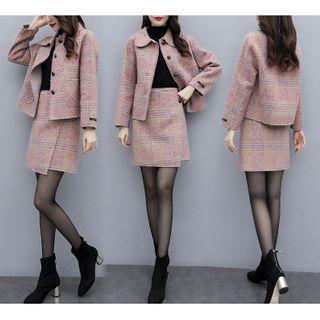 Set: Plaid Buttoned Jacket + Mini Wrap Skirt