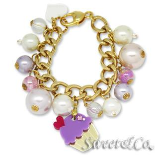 Mini Gold-purple Cupcake Swarovski Crystal Charm Bracelet Gold - One Size