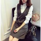 Long-sleeve Mock Two Piece Striped Dress