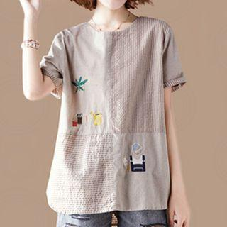 Short-sleeve Striped Paneled Embroidered Top