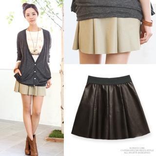 Faux-leather A-line Miniskirt