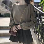Buttoned Puff Sleeve Cropped Top