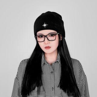 Star Embroidered Beanie Black - One Size