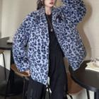 Leopard Print Fluffy Zip-up Jacket