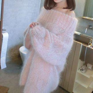 Plain Off Shoulder Furry Long Sleeve Knit Dress