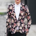 Flower Print Slim-fit Blazer