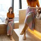 Pleated Gradient Maxi Skirt
