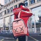Cross Strap Lettering Canvas Backpack