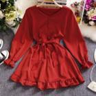 V-neck Ruffled-trim Tie-waist A-line Dress