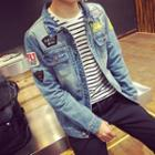 Appliqu  Washed Denim Jacket
