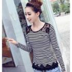 Long-sleeve Striped Lace Panel T-shirt