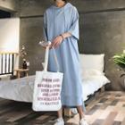 Hood Elbow-sleeve Midi Dress