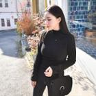 Turtle-neck Ribbed Long Top