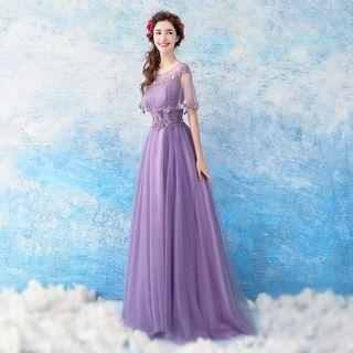 Lace-panel Cape Evening Gown