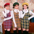 Set: Sweetheart-neck Sleeveless Check Top + Miniskirt