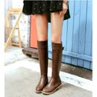 Faux Leather Belted Hidden Wedge Tall Boots