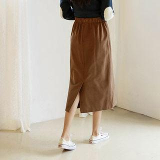 Button-front H-line Midi Skirt