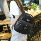 Faux-leather Belted Front Pocket Backpack