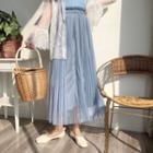 A-line Maxi Mesh Skirt