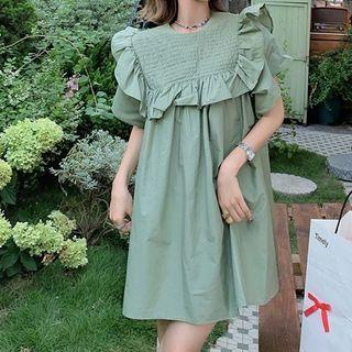 Short-sleeve Ruffled Trim Badydoll Dress